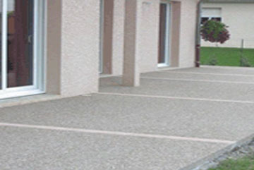 affordable terrasse gravier sur beton with resine graviers decorative